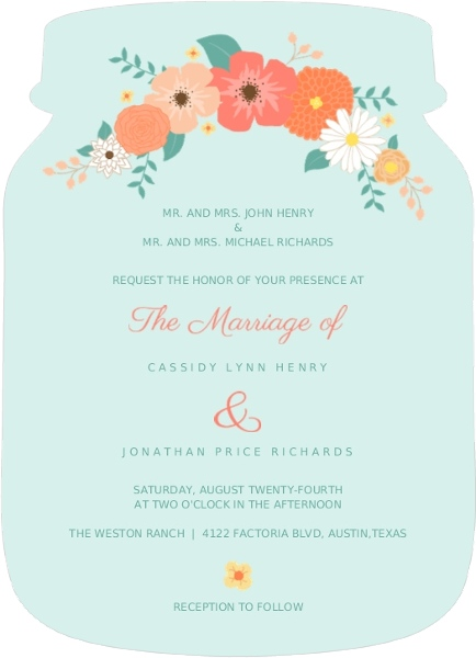 Mint Coral And Peach Country Floral Wedding Invitation Rustic