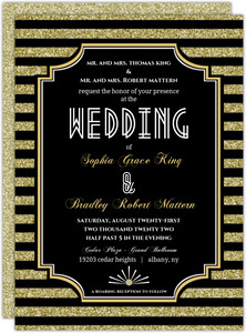 Roaring Glitter Gold Wedding Invitation