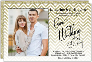 Gold Glitter Chevron Wedding Invitation
