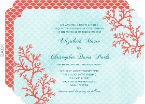 Coral Watercolor Wedding Invitation