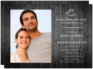 Christian Dove Wooden Wedding Invitation