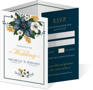 Modern Blue Floral Quadfold Wedding Invitation