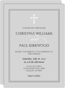 Elegant Simple Cross Wedding Invitation