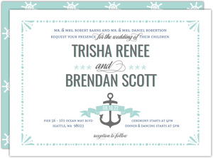 Nautical Mint and Gray Wedding Invitation