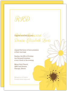 Simple and Classic Yellow Flower Wedding Invitation