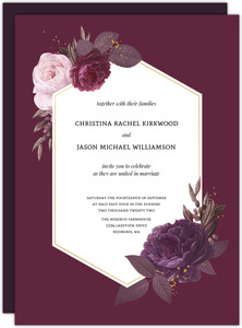 Burgundy Floral Geometric Frame Wedding Invitation