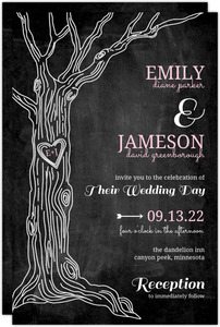 Pink Country Chalkboard Tree  Wedding Invitation