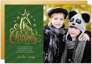 Elegant Faux Gold & Green Stripes Christmas Photo Card
