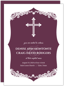 Puple Elegant Lace Cross Wedding Invitation