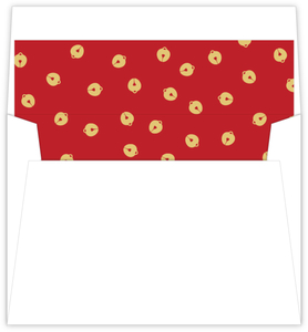 Red And Gold Bell Pattern Holiday Envelope Liner