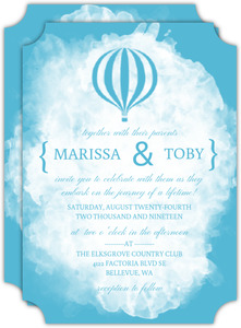 Blue Journey of a Lifetime Wedding Invitation