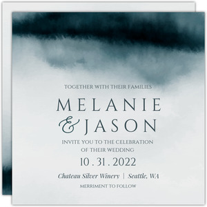 Deep Sea Watercolor Wedding Invitation