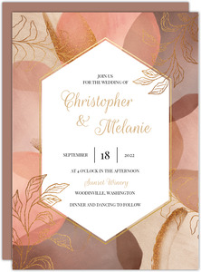 Warm Abstract Shapes Wedding Invitation