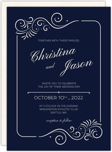 Elegant Swirly Frame Wedding Invitation