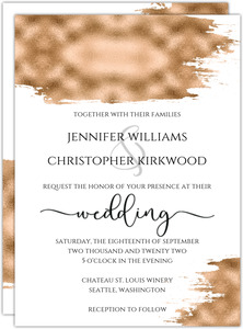 Faux Gold Brush Stroke Wedding Invitation