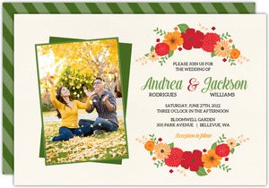 Modern Colorful Flowers Wedding Invitation