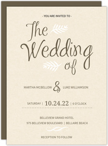 Brown and Cream Modern  Wedding Invitation