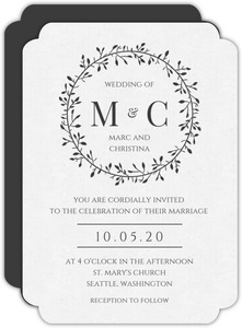 Skinny Wreath Initials Wedding Invitation