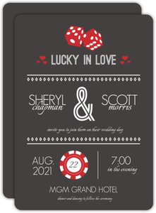 Lucky Love Red Dice  Wedding Invitation