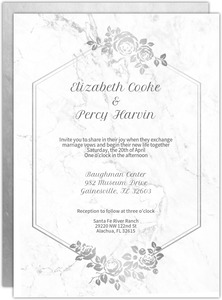 Elegant White Marble Wedding Invitation