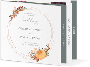 Faux Rose Gold Pumpkin Frame Booklet Wedding Invitation