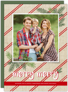 Burlap Red Stripes Holiday PHoto Card