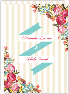 Floral Tan Stripes Wedding  Invitation