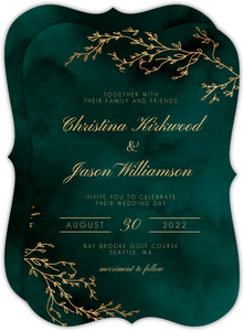 Gorgeous Emerald Watercolor Wedding Invitation