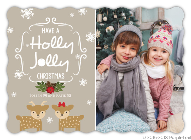 Reindeer Holly Jolly Holiday Photo Card