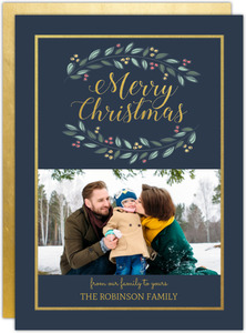 Gray Blue Gold Frame Holiday Photo Card