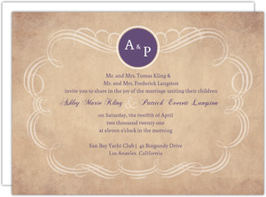 Rustic Paper Swirl Wedding Invite