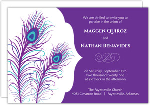 Elegant Peacock  Wedding Invite