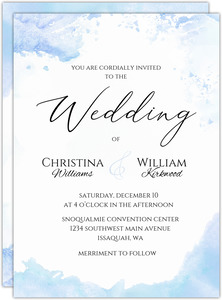 Winter Blue Watercolor Wedding Invitation