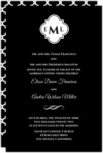 Black Monogram Wedding Invitation
