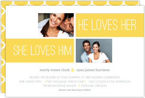 Bold Yellow Stripe Photo Wedding Invite