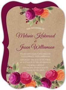Rustic Kraft Watercolor Floral Wedding Invitation