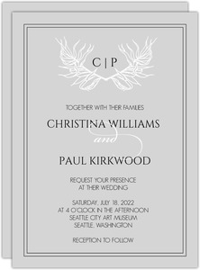 Wild Leaf Monogram Wedding Invitation