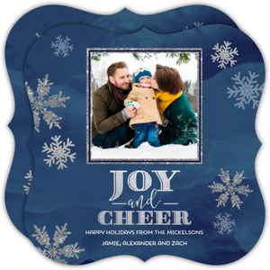 Navy and Silver Snowflake Holiday Photo Card