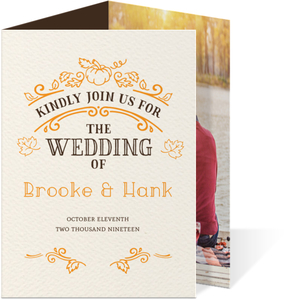 Rustic Pumpkin Trifold Wedding Invitation