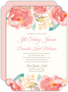 Pink Elegant Watercolor Flower Wedding Invitation
