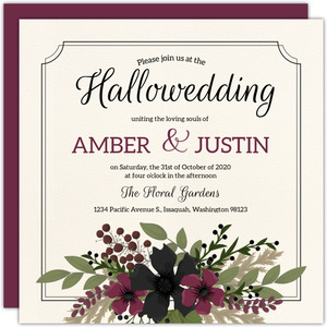 Burgundy & Black Floral Wedding Invitation