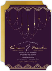 Royal Purple & Faux Gold Wedding Invitation