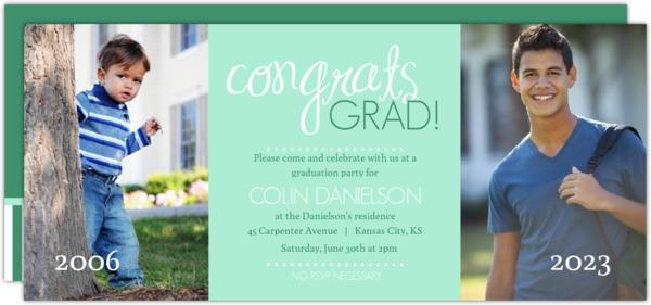 Blue and Gray Congrats Graduation Invite