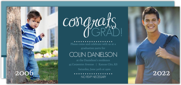 Blue and Gray Congrats Graduation Invite