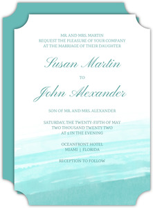 Blue Watercolor Beach Wedding Invitation