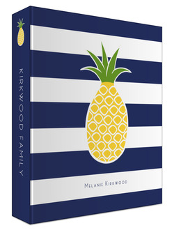 Pineapple Navy Stripe Custom 3 Ring Binder