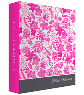 Pink Handpainted Floral 3 Ring Binder