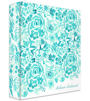 Cascading Handpainted Floral 3 Ring Binder