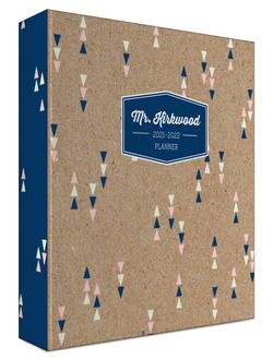 Kraft Modern Triangles Custom 3 Ring Binder