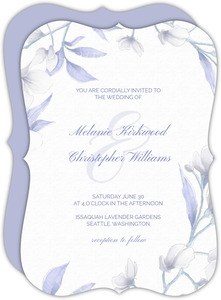 White Lilies Purple Leaves Wedding Invitation